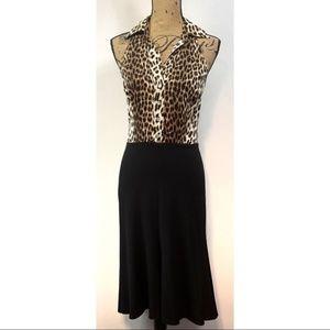 Cache Leopard Print and Black Dress Size 6